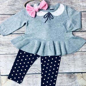 Baby Gap 6-12m polka dot sweater/legging set + bow